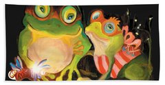 Frogs Overlay  Beach Towel