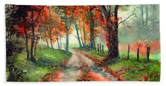 Frosty Autumn Patch Beach Towel