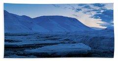 frozen coastline near Longyearbyen Beach Towel