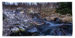 Frozen River And Winter In Forest Beach Towel