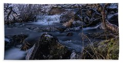 Frozen River And Winter In Forest. Long Exposure With Nd Filter Beach Towel