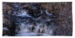 Frozen River In Forest - Long Exposure With Nd Filter Beach Towel