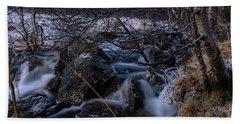 Frozen Stream In Winter Forest Beach Sheet