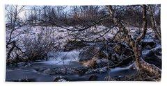 Frozen Tree In Winter River Beach Towel
