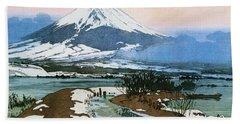 Fuji 10view, Kawaguchi Lake - Digital Remastered Edition Beach Towel