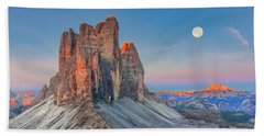 Full Moon Morning On Tre Cime Di Lavaredo Beach Towel
