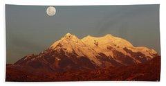 Full Moon Rise Over Mt Illimani Beach Sheet