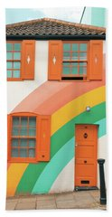 Funky Rainbow House Beach Towel