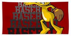 Funny Baseball Pitcher Beach Towel