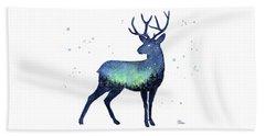 Galaxy Reindeer Silhouette Beach Towel