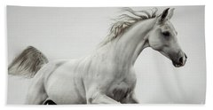 Beach Towel featuring the photograph Galloping White Horse by Dimitar Hristov