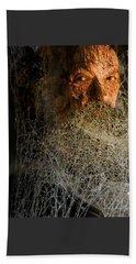 Beach Towel featuring the digital art Gandalf - Cobwebby Self-portrait by Attila Meszlenyi