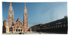 Beach Towel featuring the photograph Garbage Cleaners On Dom Square In Szeged  by Milan Ljubisavljevic
