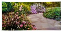 Path To The Garden Bench At Evergreen Arboretum Beach Towel