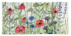 Garden Flower Medley Watercolor Beach Sheet