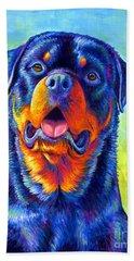 Gentle Guardian Colorful Rottweiler Dog Beach Sheet