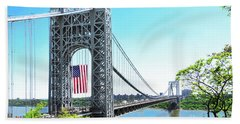 George Washington Bridge Flag Scene  Beach Towel