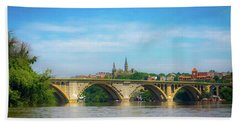 Beach Towel featuring the photograph Georgetown From The Potomac by Lora J Wilson