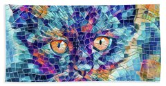 Beach Towel featuring the digital art Giant Head Mosaic Colorful by Don Northup