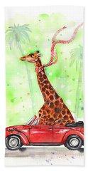 Giraffe In A Beetle Beach Towel
