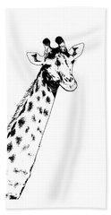 Giraffe In Black And White Beach Towel