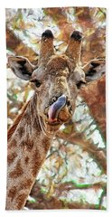 Giraffe Says Yum Beach Towel