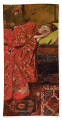 Girl In A Red Kimono - Top Quality Image Edition Beach Towel