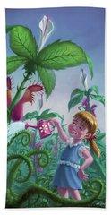 Girl Watering Horror Plants Beach Sheet