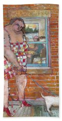 Girl With Little Dog Beach Sheet