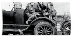 Girls Learn Auto Mechanics 1927 Beach Towel