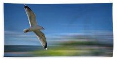 Beach Towel featuring the photograph Gull Flight #192 by Edmund Nagele