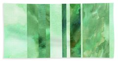 Glowing Green Lines Abstract Watercolor Decor  Beach Towel