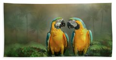 Gold And Blue Macaw Pair Beach Towel