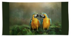 Gold And Blue Macaw Pair Beach Sheet