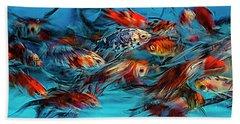 Gold Fish Abstract Beach Towel