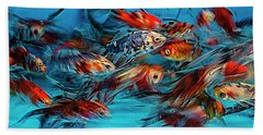 Gold Fish Abstract Beach Towel