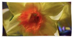 Beach Towel featuring the mixed media Golden Daffodil Brilliance by Lynda Lehmann