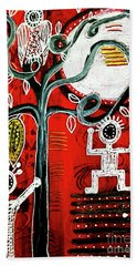 Beach Towel featuring the mixed media Golden Fruit by Mimulux patricia No
