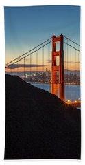 Golden Gate Christmas Glow Beach Towel