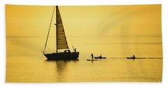 Golden Hour On Cardigan Bay, Aberystwyth Beach Towel