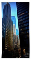 Golden Hour Reflections - City Of Chicago Beach Towel