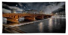 Golden Pearl Street Bridge Grand Rapids Beach Towel