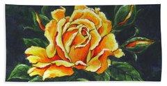 Golden Rose Sketch Beach Towel