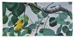 Goldfinch And Aspen Beach Towel