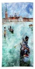 Gondola Rides And San Giorgio Di Maggiore In Venice Beach Towel