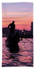 Gondolier At Sunset Beach Towel