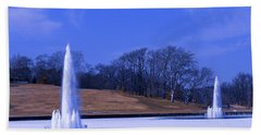 Beach Towel featuring the photograph Grand Basin Fountains On Ice by Robert FERD Frank