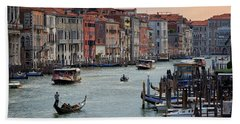 Beach Towel featuring the photograph Grand Canal Gondolier Venice Italy Sunset by Nathan Bush