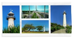 Grand Old Lighthouse Biloxi Ms Collage A1a Beach Towel