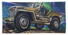 Grandpa Willie's Willys Jeep Beach Towel
